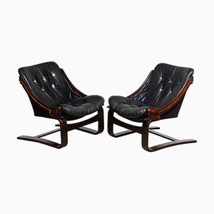 Black Leather Club or Lounge Chairs by Ake Fribytter for Nelo Sweden, 1970s, Set of 2