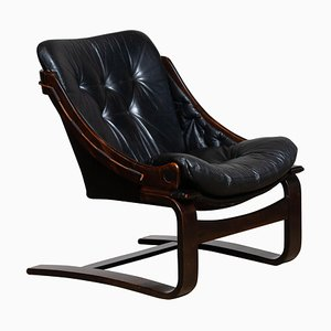 Black Leather Club or Lounge Chair by Ake Fribytter for Nelo Sweden, 1970s