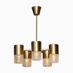 Brass and Glass Cylindrical Chandelier by Konsthantverk Tyringe, Sweden, 1960s