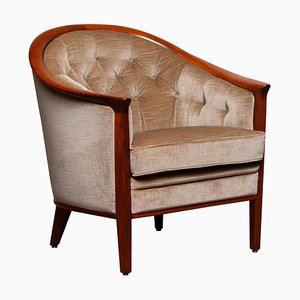 Mahogany and Taupe Velvet Lounge Chair from Bröderna Andersson, Sweden, 1960s