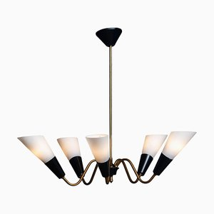 Italian Sputnik Chandelier in Brass with White Frosted Glass in the Style of Stilnovo, 1950s