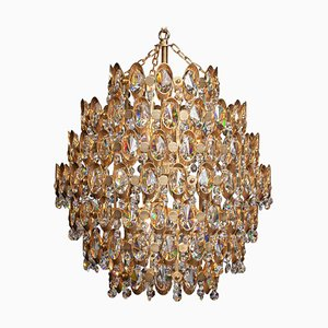 Gilded Spherical Chandelier with Clear Faceted Crystals from Palwa, 1970s