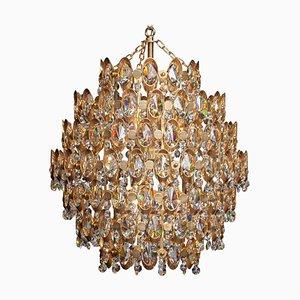 Lámpara de araña esférica dorada con cristales facetados transparentes de Palwa, años 70