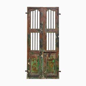 19th Century Indian Window or Door Shutters with Metal Bars, Set of 2
