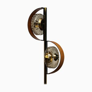 Italian Floor Lamp in Brass and Teak with Smoked Glass Shades, 1950s