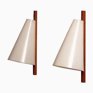 Lámparas de pared Slim de teca de Uno & Östen Kristiansson para Luxus Vittsjö, Sweden, años 60. Juego de 2