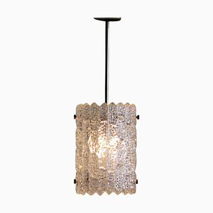 Brass and Crystal Glass Pendant by Carl Fagerlund for Orrefors, 1960s