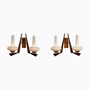 Large Italian Brass, Opal Glass and Teak Double Arm Wall Lights, 1950s, Set of 2