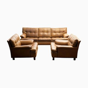 Quilted Camel Buffalo Leather Merkur Chairs and Sofa from Arne Norell AB, Set of 3