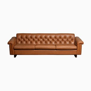 Sofa in Camel Colored Tufted Leather by Karl Erik Ekselius for JOC Design, 1970s