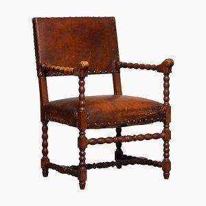18th Century Italian Oak Brown Leather Armchair