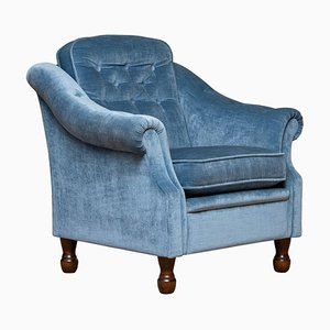 Hollywood Regency Lounge Chair with Ice Blue Velvet, 1970s