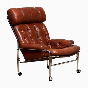 Lounge Chair in Chrome and Brown Cognac Leather by Pethrus Lindlöfs for A.B. Lindlöfs Möbler, 1960s
