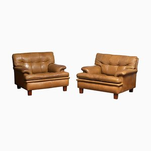 Quilted Camel Buffalo Leather Merkur Chairs by Arne Norell, 1960s, Set of 2