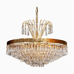 24-Carat Gold-Plated and Faceted Crystal Chandelier by Rejmyre, Sweden, 1960s