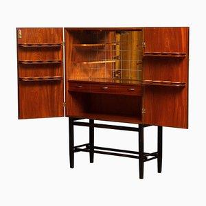 Teak and Brass Dry Bar / Drinks Cabinet Made by Förenade Linköping, Sweden, 1960s