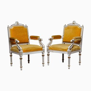 19th Century White Painted and Gilded Gustavian Swedish Armchairs, Set of 2