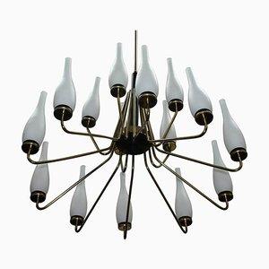 Lámpara de araña grande de latón con jarrones, años 50