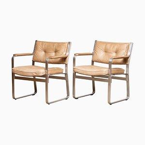Mondo Armchairs in Beige Taupe Leather by Karl Erik Ekselius JOC, 1960s, Set of 2