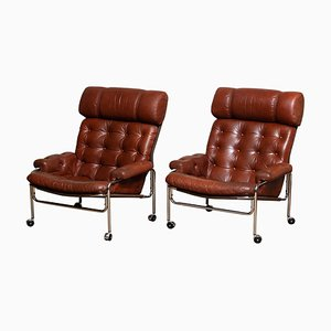 Easy Chairs in Chrome and Brown Cognac Leather by Pethrus Lindlöfs, 1960s, Set of 2