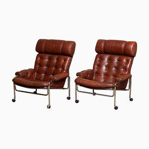 Sessel aus Chrom und Braunem Leder von Pethrus Lindlöfs, 1960er, 2er Set