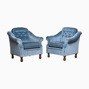 Swedish Hollywood Regency Velvet Lounge Chairs by Bröderna Andersson, 1970s