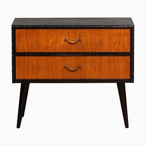 Black Faux Leather and Teak Two Drawer Cabinet, 1960s