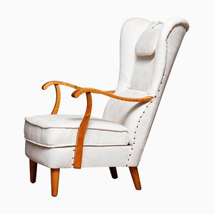 Scandinavian Wingback Lounge Chair by Wilhelm Knoll for Malmö Sweden, 1950s