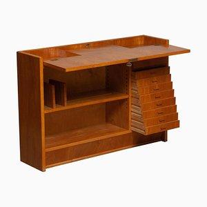 Slim Oak Workbench / Writing Desk with Open Folding Writing Working Top, 1940s