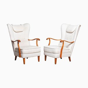 Scandinavian Wingback Lounge Chairs by Wilhelm Knoll for Malmö Sweden, 1950s, Set of 2