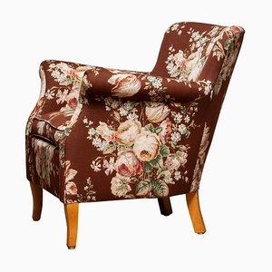 Scandinavian Floral Printed Brown Linen Lounge / Easy Chair, Sweden, 1950s