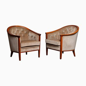 Mahogany and Taupe Velvet Lounge Chairs by Bröderna Andersson Sweden, 1960s, Set of 2