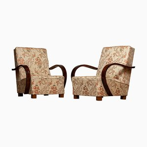 Scandinavian Art Deco Jacquard Club Chairs, Sweden, 1920s, Set of 2