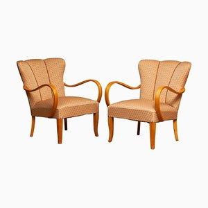 Scandinavian Bentwood Armchairs Club Chairs in Elm, Sweden, 1950s, Set of 2