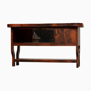 Dutch Sideboard with Glass Sliding and Wooden Folding Doors in Burl Walnut, 1920s