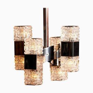 Lámpara colgante de cromo y vidrio de Gaetano Sciolari, Italy, años 60