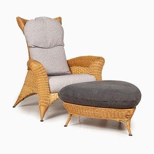 565 Grauer Sessel mit Fußhocker von Rolf Benz, 2er Set