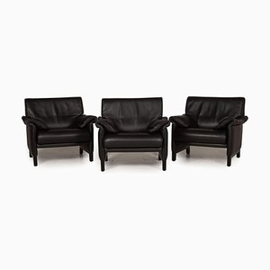 DS 14 Black Leather Armchair from de Sede, Set of 3