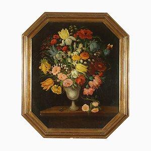 Natura Morta con Fiori Farfalla e Lucertola, Oil on Canvas