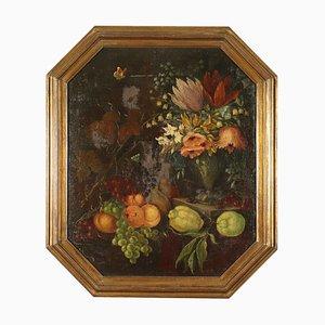 Bodegón con flores y frutas, óleo sobre lienzo