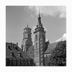Belfries of Collegiate Church at Stuttgart, Germany, 1935