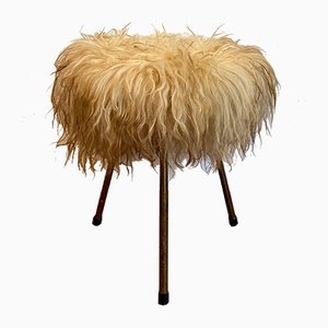 Stool with Fur Cover, 1950s