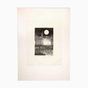 Leo Guida, Nachtlandschaft, 1970, Original Radierung