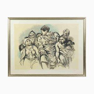 Renato Guttuso, Homage to Michelangelo, 1975, Grabado original