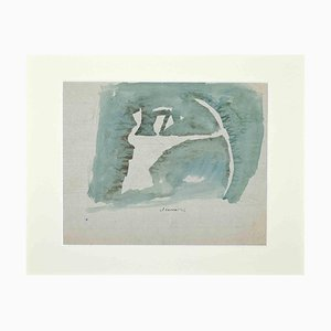 Mino Maccari, The Archer, Mitte des 20. Jahrhunderts, Original Aquarell