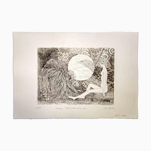 Leo Guida, Talk, Verschleierte Sibylle und Affen, 1970, Original Radierung