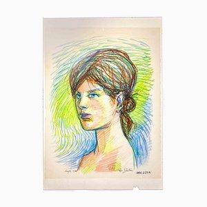 Leo Guide, Portrait, 1970, Originalzeichnung
