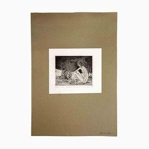 Leo Guida, Sibylle und die Grenze, 1970, Original Radierung