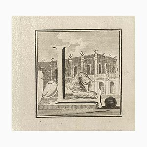 Various Artists, Capital Letter from Ancient Rome, 1750s, Original Etching