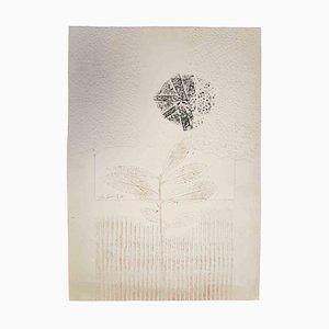 Leo Guida, estampado floral, 1971, aguafuerte y relieve originales